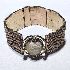 Antique gold filled shell cameo panel bracelet